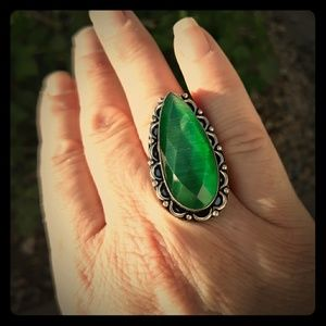 New Faceted Monalisa Silver Ring. Size 7 1/4